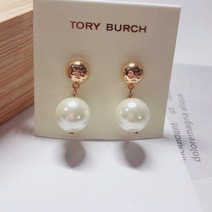 Tory Burch Large Pearl Simple Gold Plated Earrings